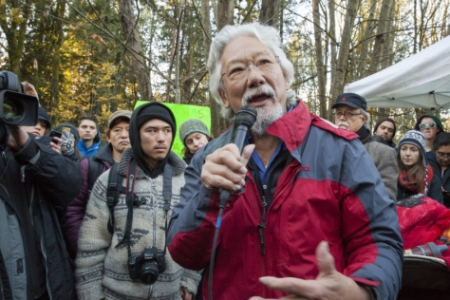 David Suzuki at Kinder Morgan protest on Burnaby Mountain on Sunday. His grandson Tamo Campos is to his left. Photo by Mychaylo Prystupa.