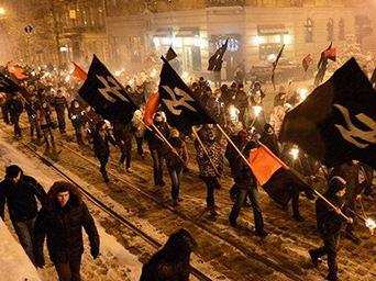 Ukraine neo Nazis and their SS flags!